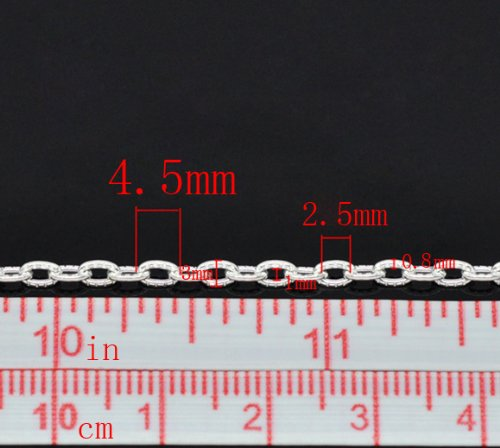 Housweety 10M SP Textured Link-Opened Cable Chain 4.5x3mm