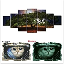 Large Canvas Wall Art Startonight Bundle Nature HD Big Set, Glow Painting Old Big Tree , Unique Modern Europe Framed Artwork, Bonus Gift 3D Poster Cat for Kids