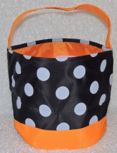 Halloween Candy Bag Trick or Treat Bags - Reusable durable handled bag design - Dots, Stripes, Skulls, Bats, Canvas and Bucket Basket by Jolly Jon (Black Bag, White Dots, Orange Bottom)
