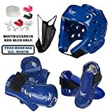 Taekwondo Karate Sparring Gear Set (BLUE, SM)