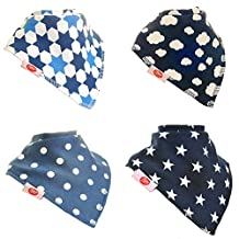 Zippy Fun Baby and Toddler Bandana Bib - Absorbent 100% Cotton Front Dribble Bibs with Adjustable Snaps (4 Pack Gift Set) Just Blues