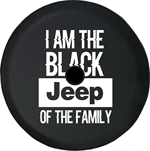 Rear Tire Covers - American Unlimited JL Series Spare Tire cover with Backup Camera Hole I am the Black Jeep of the Family Black 33 in