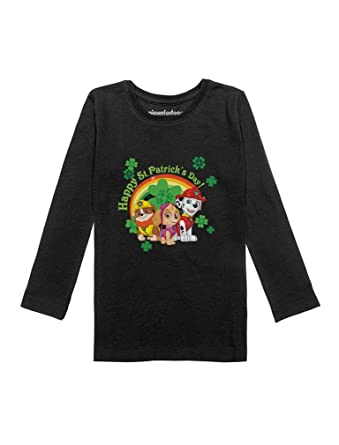 9988c89d Amazon.com: Happy St. Patrick's Day Paw Patrol Gift Official Toddler Girls  Fitted Long Sleeve T-Shirt: Clothing