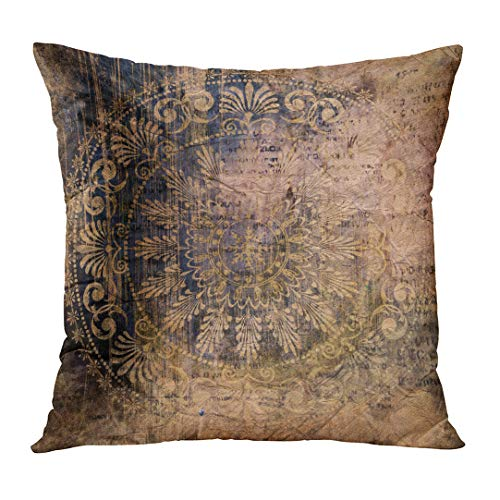 TOMKEYS Throw Pillow Cover Renaissance Vintage Grunge Damask Pattern on in Dark Salmon Olive Brown and Blue Colors Baroque Ancient Decorative Pillow Case Home Decor Square 16x16 Inches Pillowcase - Damask Olive Bed Cover