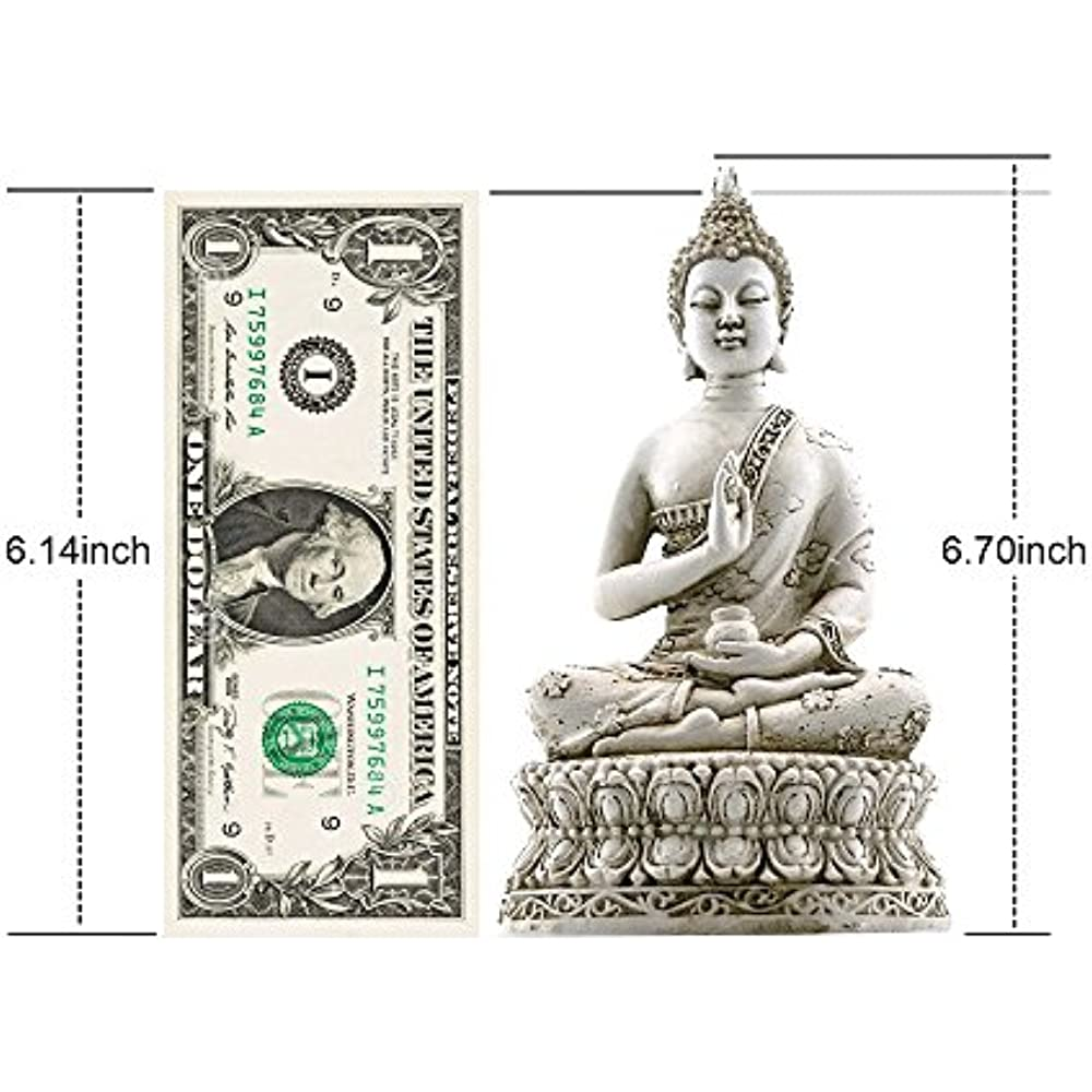 Thai Sitting Buddha Statue For Home Decor Ivory 6.7