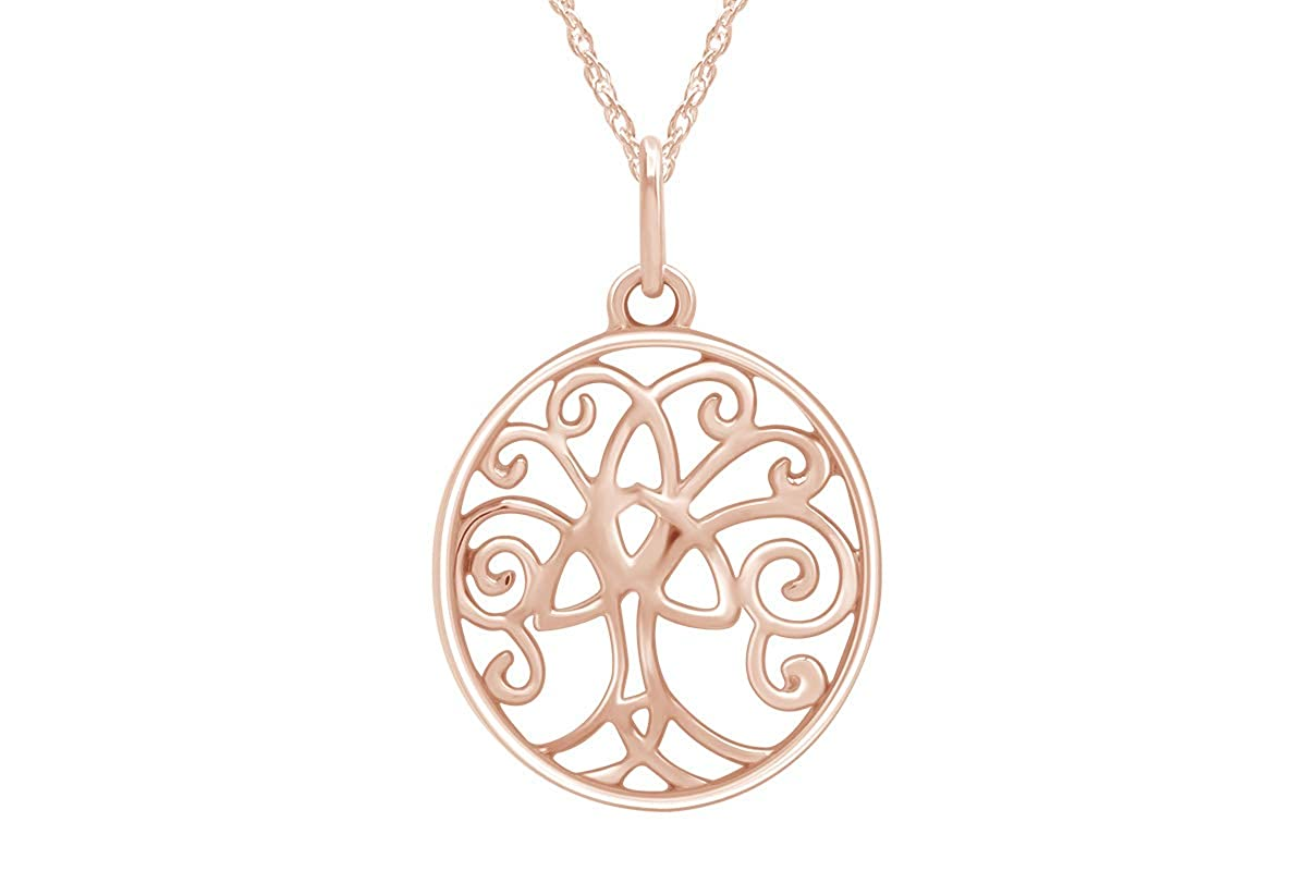 AFFY Celtic Tree of Life Pendant Necklace in 14k Gold Over Sterling Silver