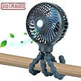 snawowo Mini Handheld Personal Portable Fan, Baby Stroller Fan, Car Seat Fan, Desk Fan, with Flexible Tripod Fix on Stroller/Student Bed/Bike/Crib/Car Rides, USB or Battery Powered (Dark Blue)