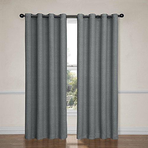 Eclipse 12966052095PWT Bobbi 52-Inch by 95-Inch Grommet Blackout Single Window Curtain Panel, Pewter (94 Inch Blackout Curtains)