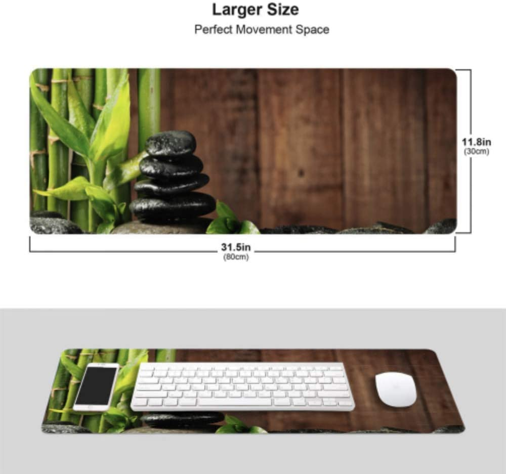Bamboo Grove and Black Zen Stones Big Gaming Mousepad 31.5x11.8 Inch Wide /& Long Large Mouse Pad for Computer//Laptop