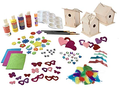 3 Build, Paint, Decorate Wooden Bird House Complete Craft Kits / 3 birdhouses / Paint, Brushes, Paint Palettes /Jewels, Stickers, Feathers, Googly Eyes / Glue Stick / Tip Sheet (92 ()