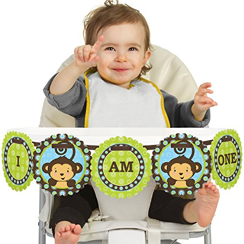 (Big Dot of Happiness Monkey Boy 1st Birthday - I Am One - First Birthday High Chair Banner)