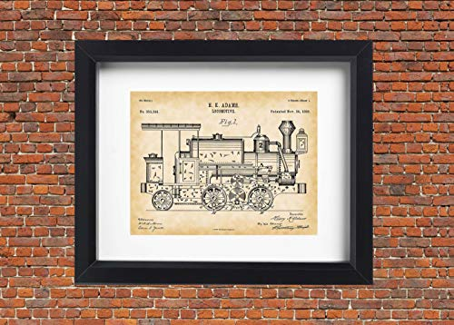 Locomotive Train Wall Art Patent Print - Vintage Train Décor for Boy's Room - 11x14 Unframed Poster Artwork - Adams Locomotive 1886