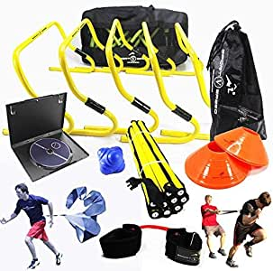 New Team Speed Agility & Quickness Training Kit with Downloadable Instructional DVD | High School & College | Football, Soccer, Basketball, Baseball, All Sports | Hurdles, Ladder, Resistor & More!