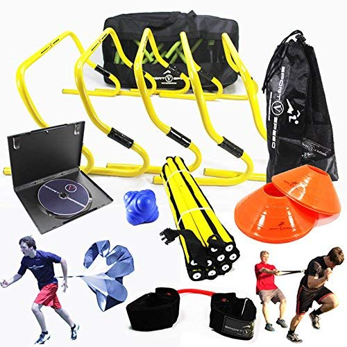 (New Team Speed Agility & Quickness Training Kit with Instructional DVD | High School & College | Football, Soccer, Basketball, Baseball, Supports All Sports | Hurdles, Ladder, Power Resistor, More!)
