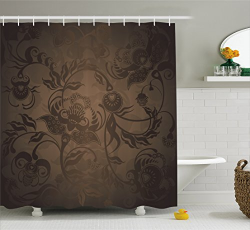 Ambesonne Victorian Decor Shower Curtain, Floral Paisley Ivy Design Leaves with Abstract Details Print, Fabric Bathroom Decor Set with Hooks, 75 Inches Long, Seal Brown ()