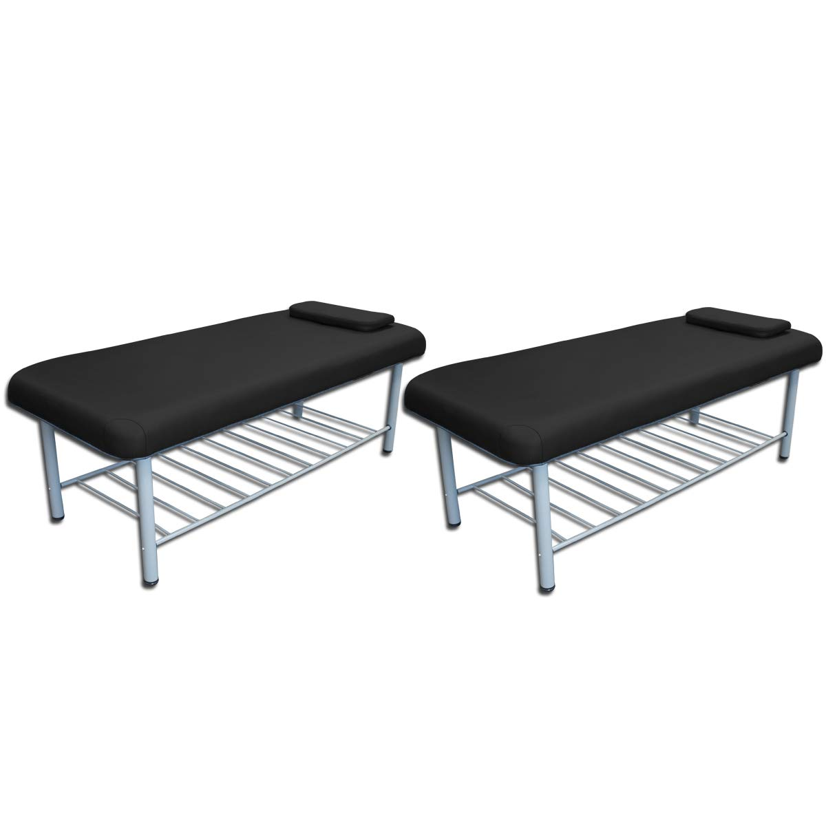 TOA Professional Metal Framed Stationary Spa Massage Table Bed w/Tray Rack (2 Black Table) by TOA Supply (Image #1)