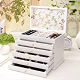 European solid wood jewelry box dressing box jewelry box princess jewelry storage box wedding gift ( Color : White )