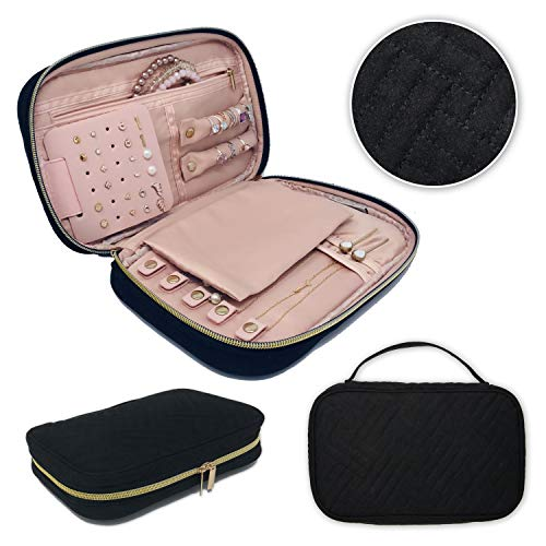Juniper Aspen Travel Jewelry Organizer: Jewelry Case for Traveling Storage, Travel Jewelry Roll, Portable Small Black Necklace, Ring, Earring, and Bracelet Case, Jewlery Box for ()