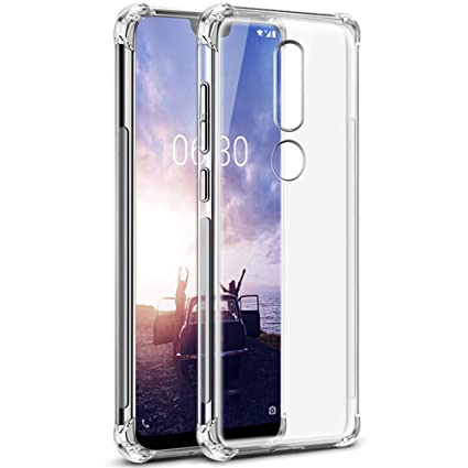 cheap for discount 3a028 25774 TheGiftKart Flexible Shockproof Crystal Clear TPU Back Cover Case with  Cushioned Edges for Ultimate Protection for Nokia 6.1 Plus (Transparent)