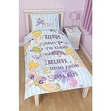 Disney Tinker Bell Childrens Girls Cherish Reversible Single Duvet / Quilt Cover Bedding Set (Twin Bed) (Light Blue/White)