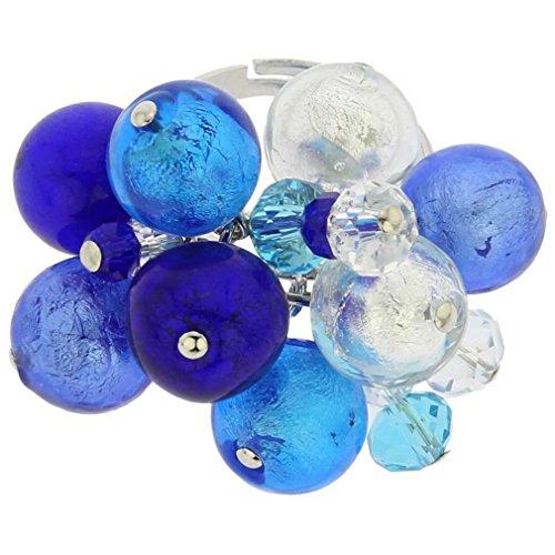 - GlassOfVenice Murano Glass Sorgente Ring - Blue