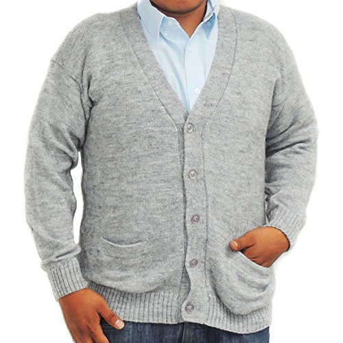 CELITAS DESIGN Alpaca Cardigan Golf Sweater Jersey V Neck Buttons and Pockets Made in Peru Silver Grey L by CELITAS DESIGN (Image #2)