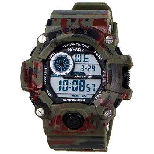 BesWLZ Multi Function Military Sports Watch LED Analog Digital Waterproof Alarm Green by BesWlz