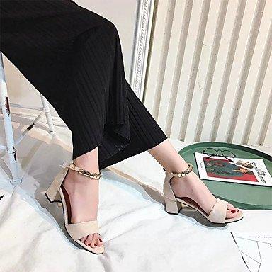 LvYuan Mujer Sandalias Tejido Primavera Verano Paseo Hebilla Tacón Robusto Negro Beige Verde Ejército 2'5 - 4'5 cms Black