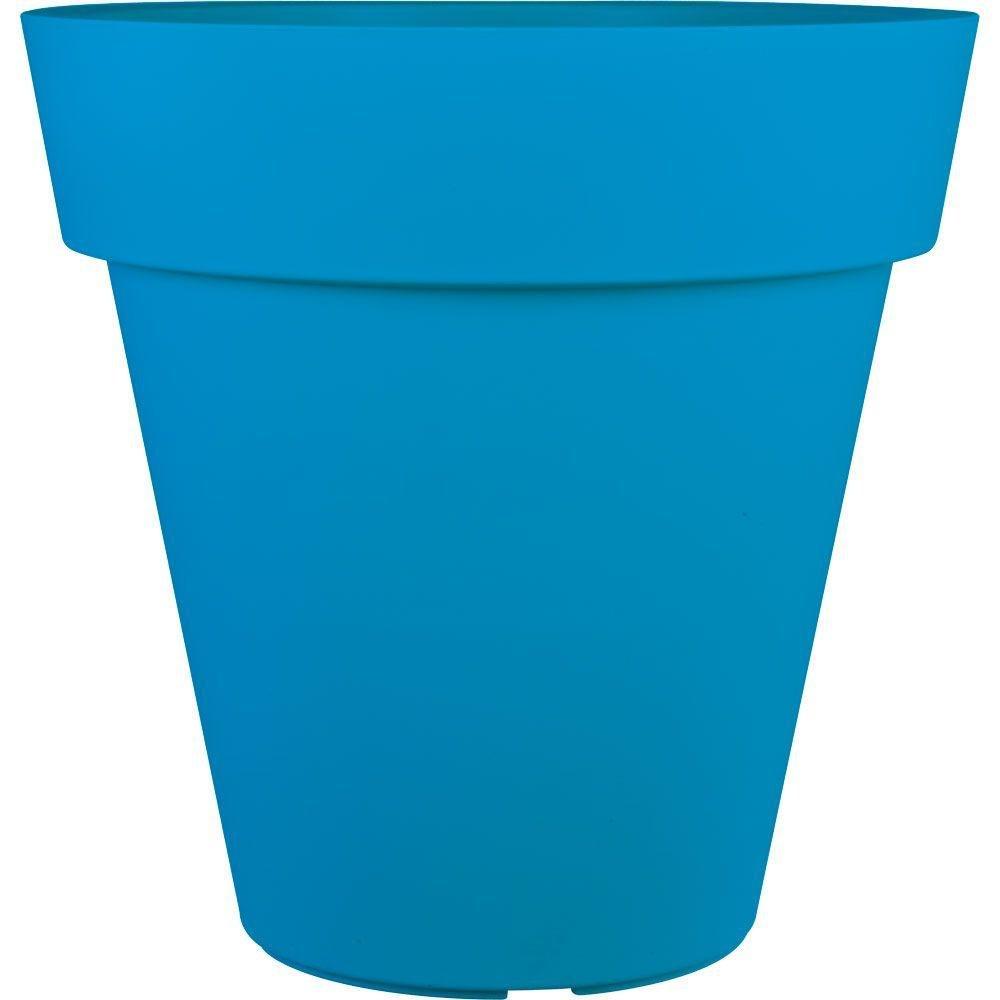 Pride Garden Products Mela 24 in. Round Blue Plastic Planter
