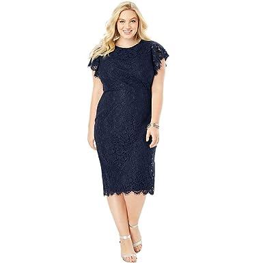 44c0d31cbdd8c Roamans Women s Plus Size Lace Sheath Dress with Flutter Sleeves at Amazon  Women s Clothing store