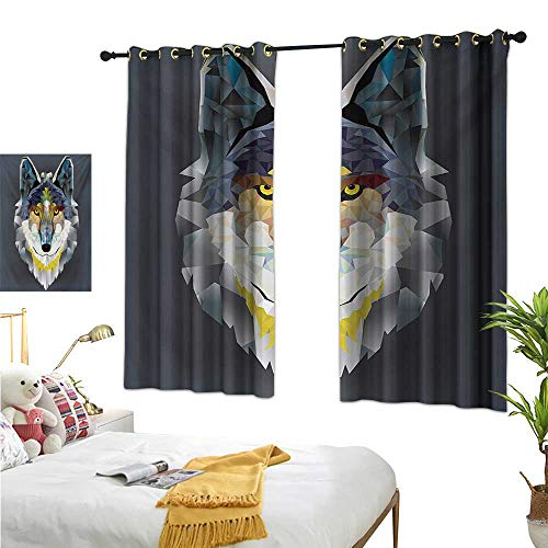 Zoo Thermal Insulating Blackout Curtain Artsy Graphic Design of Coyote Wolf Beast Modern Portrait Geometric Colorful Print W55 x L45,Suitable for Bedroom Living Room Study, etc.