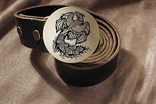 Phoenix REBIRTH Etched Metal Belt Buckle