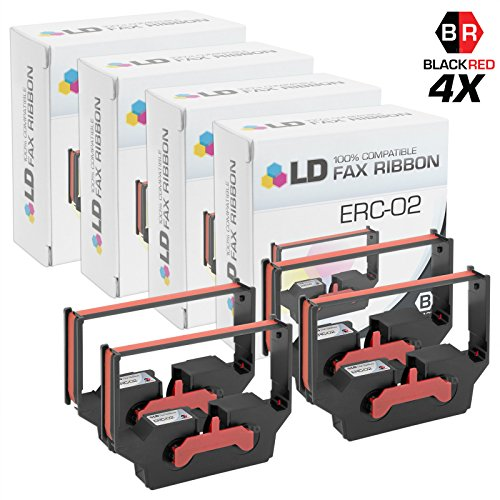 LD Compatible Epson ERC-02 Set of 4 Black and Red Printer Ribbons by LD Products