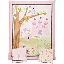 Bedtime Originals Owl Magic Kingdom 3 Piece Crib Bedding Set for girls