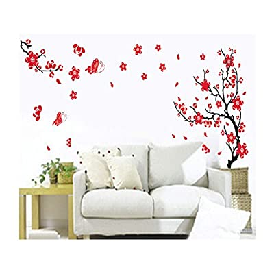 Stylish High Quality Adhesive Rooms Walls Vinyl DIY Stickers / Murals / Decals / Tattoos / Transfers With Red Japanese Cherry Blossoms Tree / Branch And Butterflies Designs By VAGA