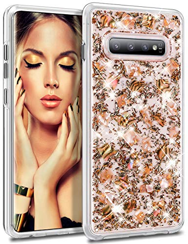 HoneyAKE Cover for Galaxy S10 Plus S10+ Case Luxury Glitter Bling Cute Girls Women Genuine Shell Hard PC Back Flexible TPU Bumper Protective Phone Case for Samsung Galaxy S10 Plus 6.4 inch(Rose Gold)
