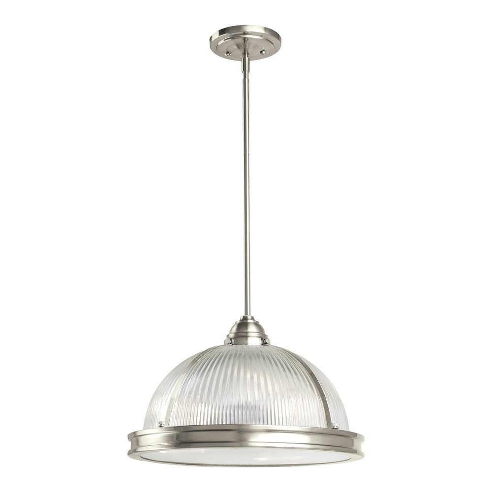 Sea gull lighting 65062 962 pratt street prismatic three light pendant with clear textured glass diffuser and clear ribbed glass shade brushed nickel