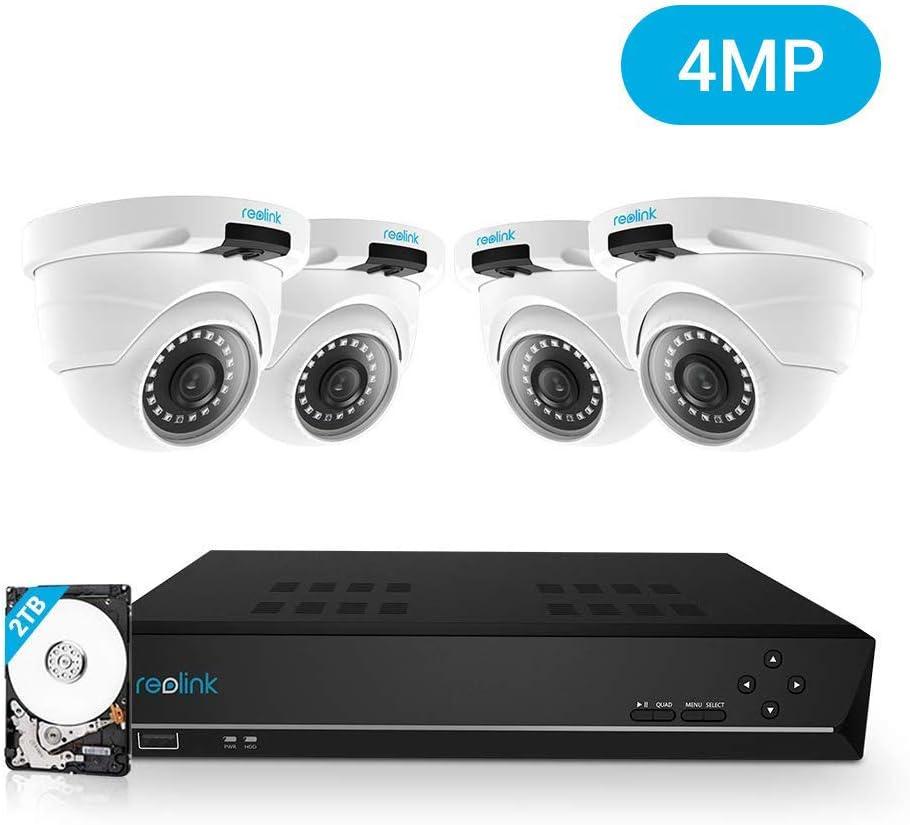 Reolink 4MP 8CH PoE Kit de Sistema de Videovigilancia, con 4X 4MP Cámaras IP Exterior Interior y 8CH NVR con 2TB HDD, Impermeable para Hogar y Negocio RLK8-420D4-4MP