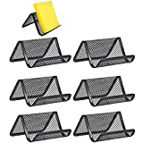 FOGAWA 6 Pcs Metal Mesh Business Card Holder Stand Black Office Desk Business Card Holder Display Cool Office Collection Organizer for Name Card