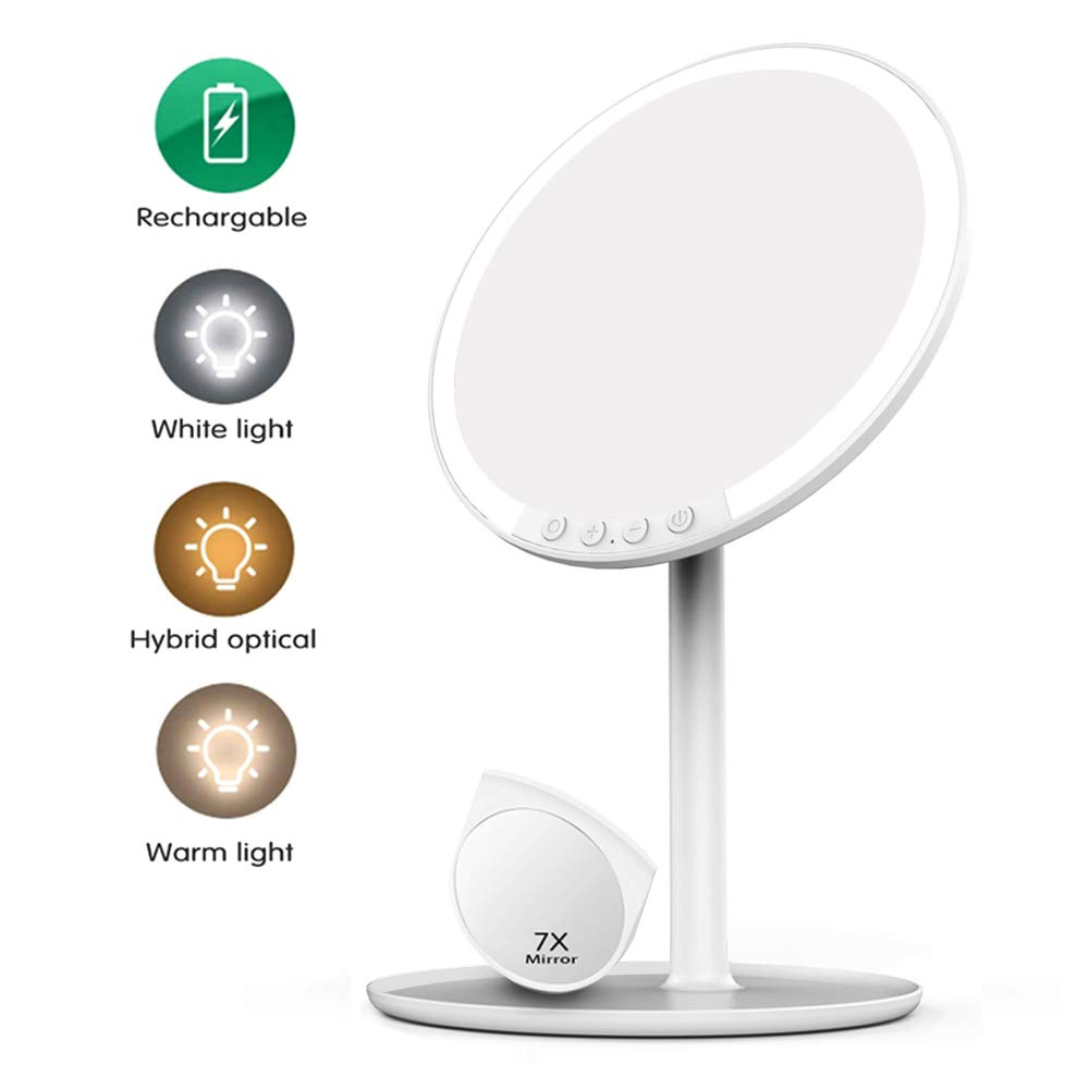 Volluck Lighted Makeup Mirror-LED Lights-with Bright Adjustable 3 Colors Lighting Modes Natural Daylight Touch Control Chassis Traveling Portable white