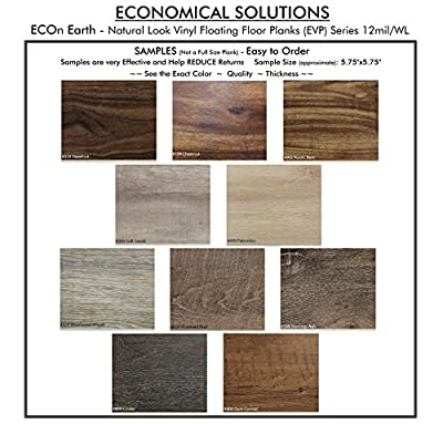 "ECONOMICAL SOLUTIONS Infinite Ware Vinyl Plank Flooring EVP - 5.75""x47.91"" (22.95 Sq.Ft./Box) 5.5mm Thick, 12 mil Ware Layer – 10 Colors, DIY Installation"