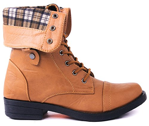 Women Foldable Plaid Cuff Mid-Calf Leatherette Lace Up Comfy Military Combat Boots Tan