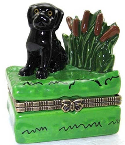 Black Lab Labrador Retriever Puppy Porcelain Hinged Trinket Box (Dog Hinged Trinket Box)