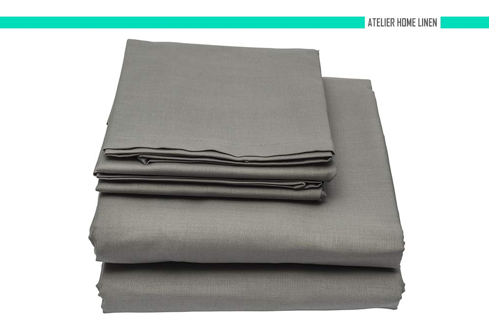 Atelier Home Linen 600-THREAD-COUNT King Size Bed Sheets,Dark Gray-4 Piece Set Long-Staple Combed Pure Natural 100% Cotton Sheets-Soft & Silky Sateen Weave Bedding Set (Free 1 Hand Towel)