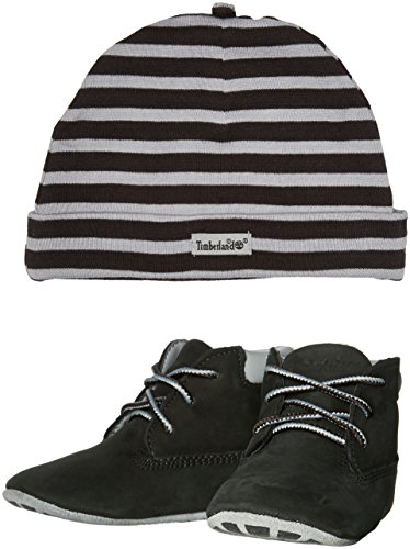 (Timberland Boys' Crib Bootie with Hat-K Hiking Boot, Black Naturebuck, 3 M US Infant)