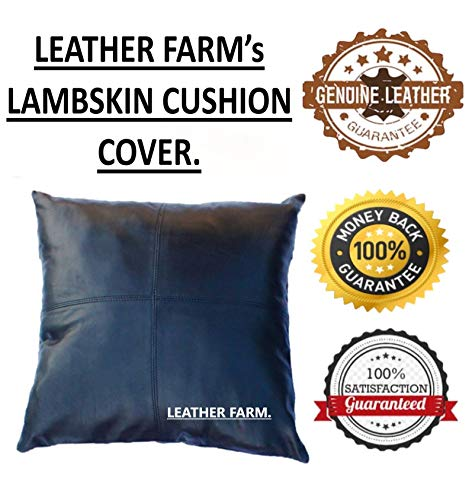 Thick Genuine Black Leather Pillow Cover Decorative for Couch Throw Pillow Case Black Leather Cushion Cover Pack of 2…