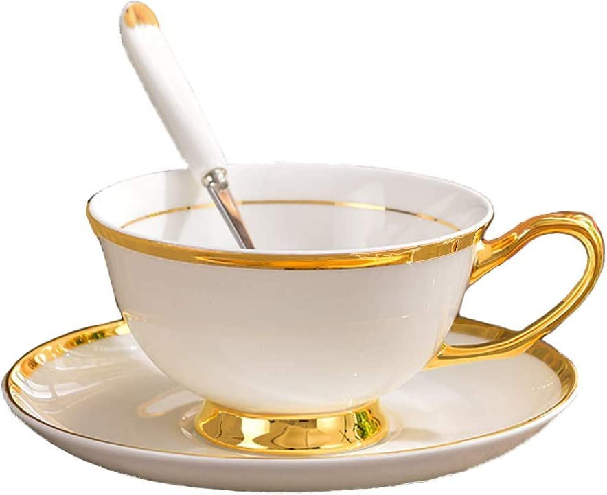 FEIYABDF Tea Cup and Saucer Spoon Set, Cyan Porcelain Bone China Tea Set, Gold Trim and Gift Box, Suitable for afternoon tea and coffee. (D)