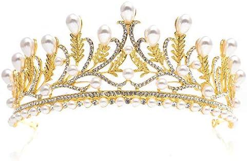 ブライダルクラウンウェディングウエディングティアラジュエリー花嫁の葉ラインストーンパールヘアアクセサリー用ウェディングパーティーとステージパフォーマンス 結婚式や舞台公演、仮面舞踏会、誕生日に適しています (Color : Gold)