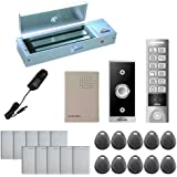 Visionis FPC-5644 One Door Access Control Outswinging Door 1200lbs Maglock with VIS-3005 Outdoor Weather Proof Slim Metal Touch Keypad/ Reader Standalone No Software EM Card Compatible 2000 Users Kit