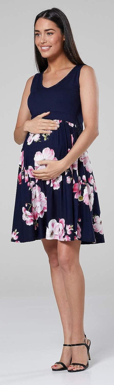 Womens Maternity Nursing Layered Skater Dress Sleeveless HAPPY MAMA 685p